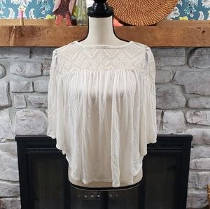 H.I.P. boho lace flowy wing sleeve opaque top S